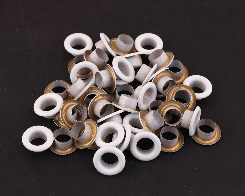50pcs 8*4mm OD * ID white Round Eyelets Hole Grommets Metal Eyelets large Eyelets Brass Grommet Eyelets for leather dog collars