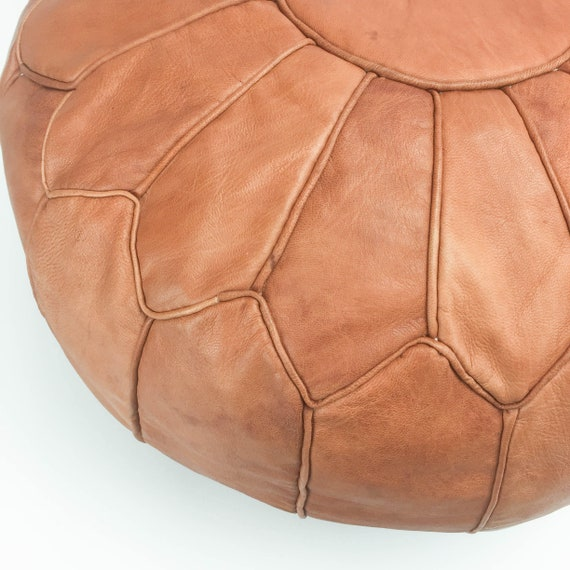 Tremendous Handmade Large Leather Morocco Pouf Light Tan 100 Real Genuine Leather Moroccan Ottoman Footstool Hassock Lamtechconsult Wood Chair Design Ideas Lamtechconsultcom