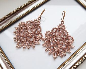 Gold lace earrings, copper earrings, frivolite chandelier earrings, tat earrings, statement earrings, tatting jewelry, bohemian earrings