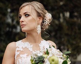 13th Anniversary Wedding Earrings Bridal Earrings Long Earrings Sterling Silver Statement Earrings Hematite Earrings Lace Earrings