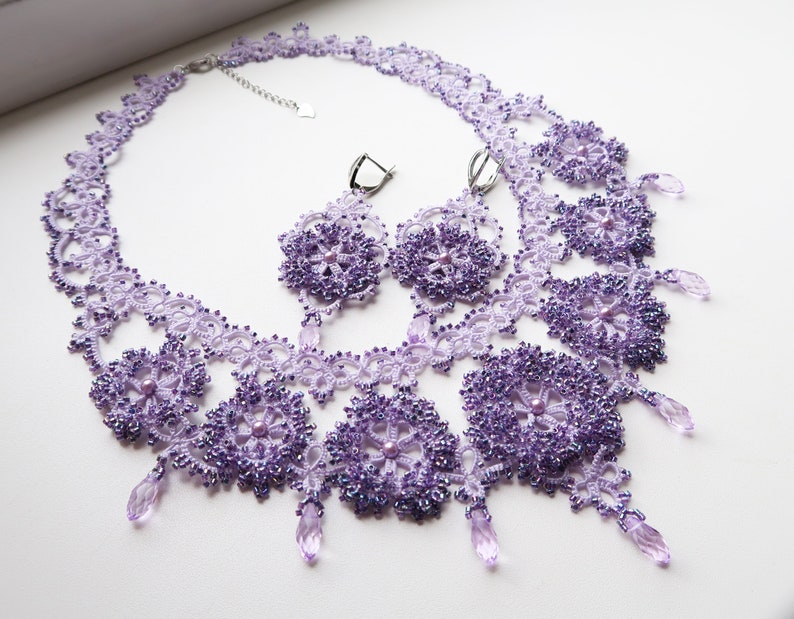necklace for Queen Statement necklace flower necklace Tatting Lilac necklace Frivolite necklace lilac wedding Wedding Lilac necklace