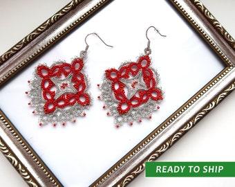 Red and silver lace earrings, New Year earrings, tatted lace earrings, present for girlfriend, Leaf earrings, earrings Frivolite,