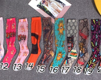 f6cd43235f1 Summer 3D letter color gold silk printed thin socks-54