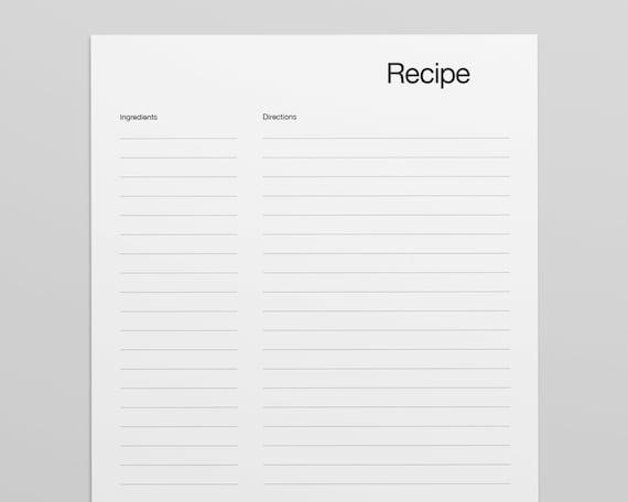 Blank Recipe Template from i.etsystatic.com
