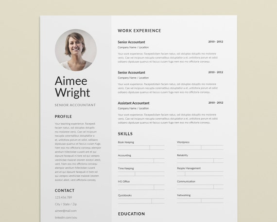 Modern Resume Template for Word - Simple Resume Template - Resume Template  Instant Download - CV Elegant - CV Template with Photo - Resumes