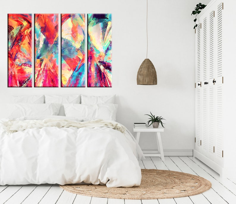 Minimalism  Minimalist Art Print Marble Poster Wall Decor Colorful Abstract Pink Hues Home Decor Abstract Canvas Extra Large Set of 5 Panels