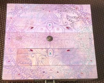 Boho Mandala jewelry keepsake upcycled cigar box