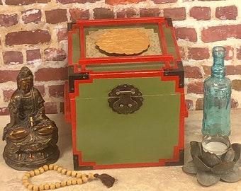 Asian Inspired Wooden keepsake jewelry box