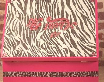 Hot Pink girl's Zebra keepsake jewelry box
