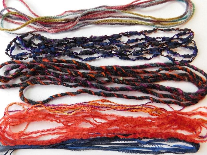 novelty yarn and ribbon bundle Specialty fiber set 24 yds = 12 pieces X 2 yds; set A18 embellishment art fibers art fiber bundle