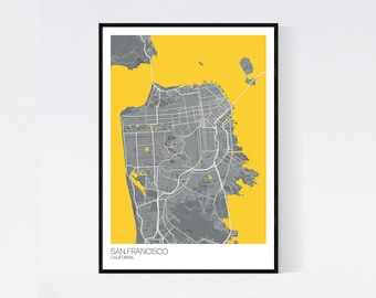 San Francisco, California Map Print - Many Colours - Printed on Art Quality Paper - Fast Delivery - Scandi // Vintage // Retro // Minimal