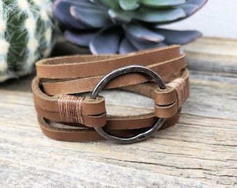 Made in USA Firm Strong #004 Leather mustache bracelet cuff Thick