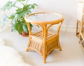 Mid century Vintage Bamboo Round / Circular Glass Top Coffee Table / Side Table / Boho Plant Stand Wicker Rattan Cane *Vintage Wanders*