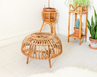 Wicker Franco Albini Ottoman / Plant Stand / Outdoor Side Table / Stool, Mid Century 1970s Bamboo Cane Vintage   Rattan Patio Furniture