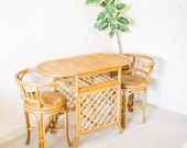 Vintage Bamboo Bistro Set Table and Chairs Dining Set Garden Cane Wicker, Mid Century Rattan Retro 1970s Bohemian Boho Vintage Wanders