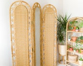 Vintage Mid Century Bamboo Rattan Room Divider Screen with Privacy Curtains / Headboard Cane Wicker Boho Bohemian Style *Vintage Wanders*