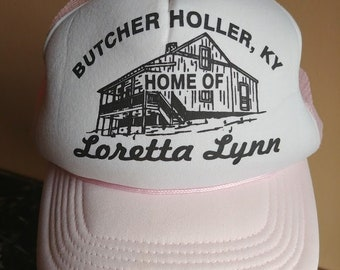 50b2babeffc Vintage Trucker Hat Cap Loretta Lynn Butcher Holler Kentucky Snapback Baby  Pink Coal Miner s Daughter