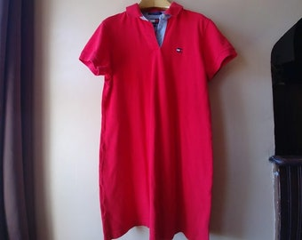 9a21d37dd3fb2a Vintage Y2K 90s Tommy Hilfiger Red Collared Preppy Shirt Dress Polo Logo  Flag XL