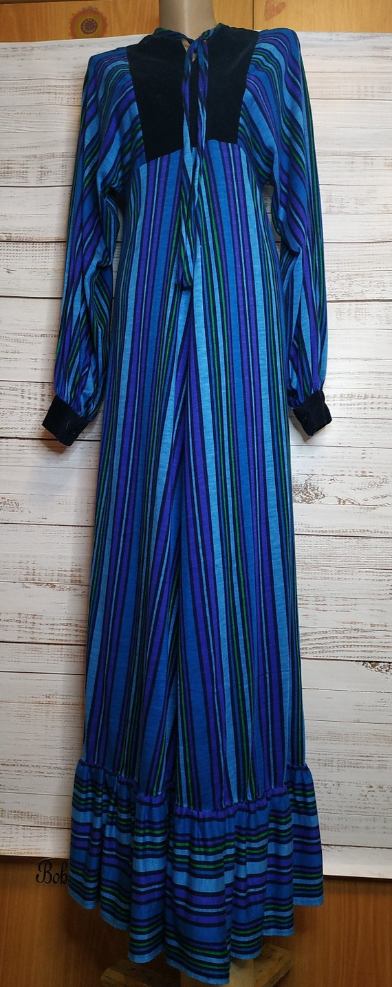 Vintage 70's Maxi Dress Blue Green Striped Velvet