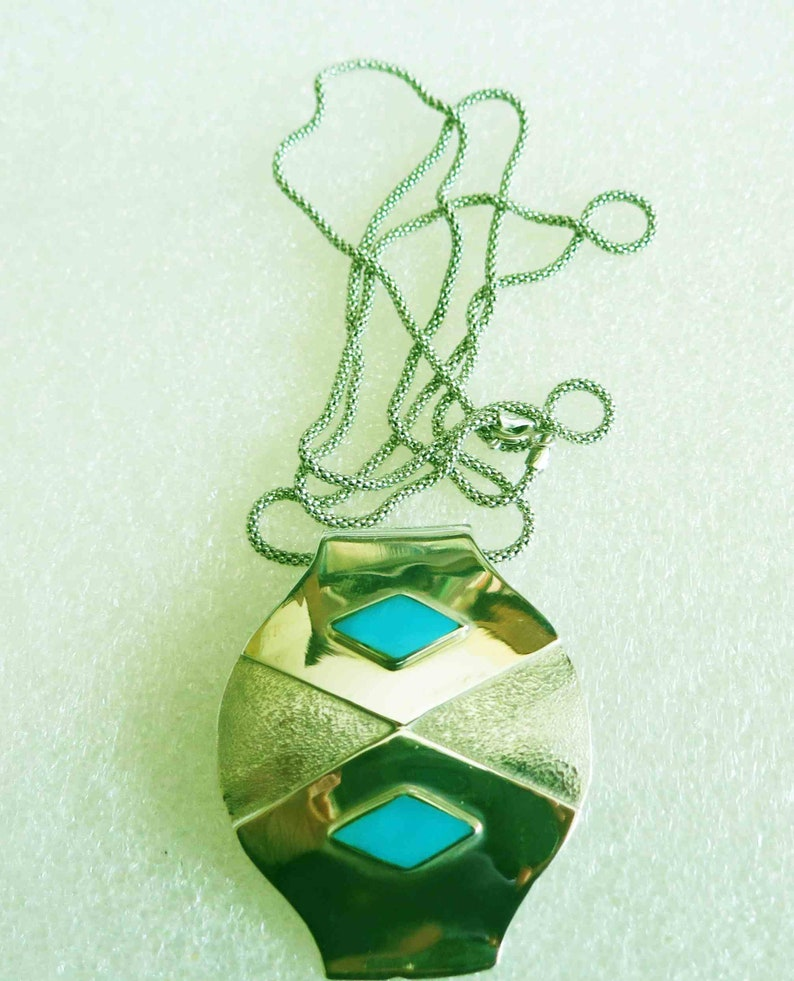 Vintage Deco 24 Textured Modernist Sterling Turquoise Pendant Chain Necklace