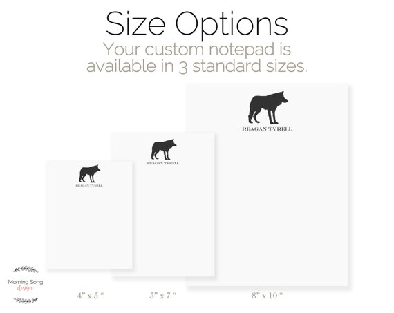 Animal Memo Pad Custom Wolf Notepad Gift Lined or Blank Writing Pad Wolf Stationery Note Pad Personalized Wolf Notepad with Name