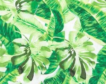 Tropical Leaves 100/% Coton Popeline Imprimé Tissu-Jungle Floral Feuille de banane