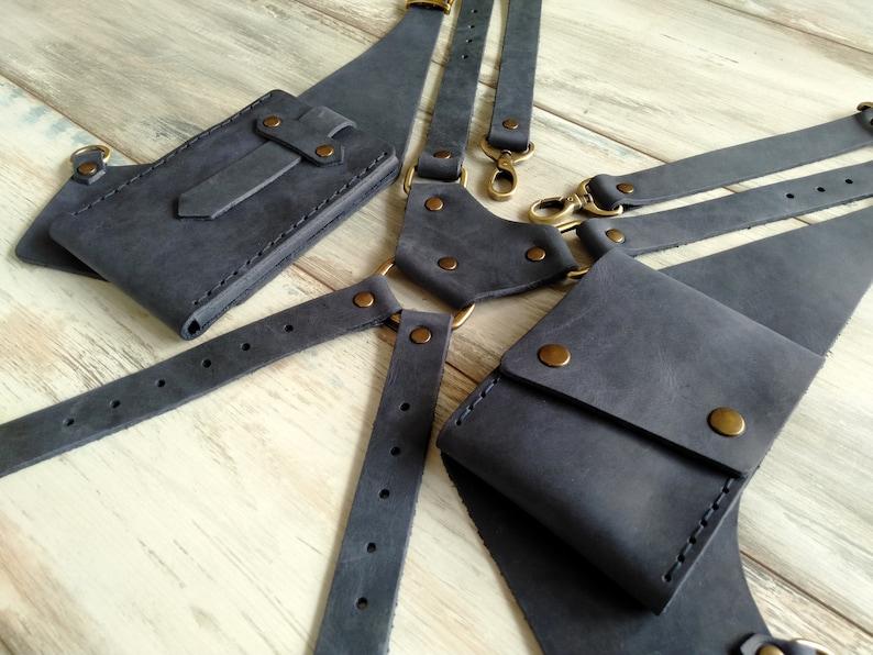 Leather Holster Bag Navy Leather Shoulder Bag Leather Festival Bag Burning man Double Holster Leather Hipster Bag Valentine/'s Day Gift