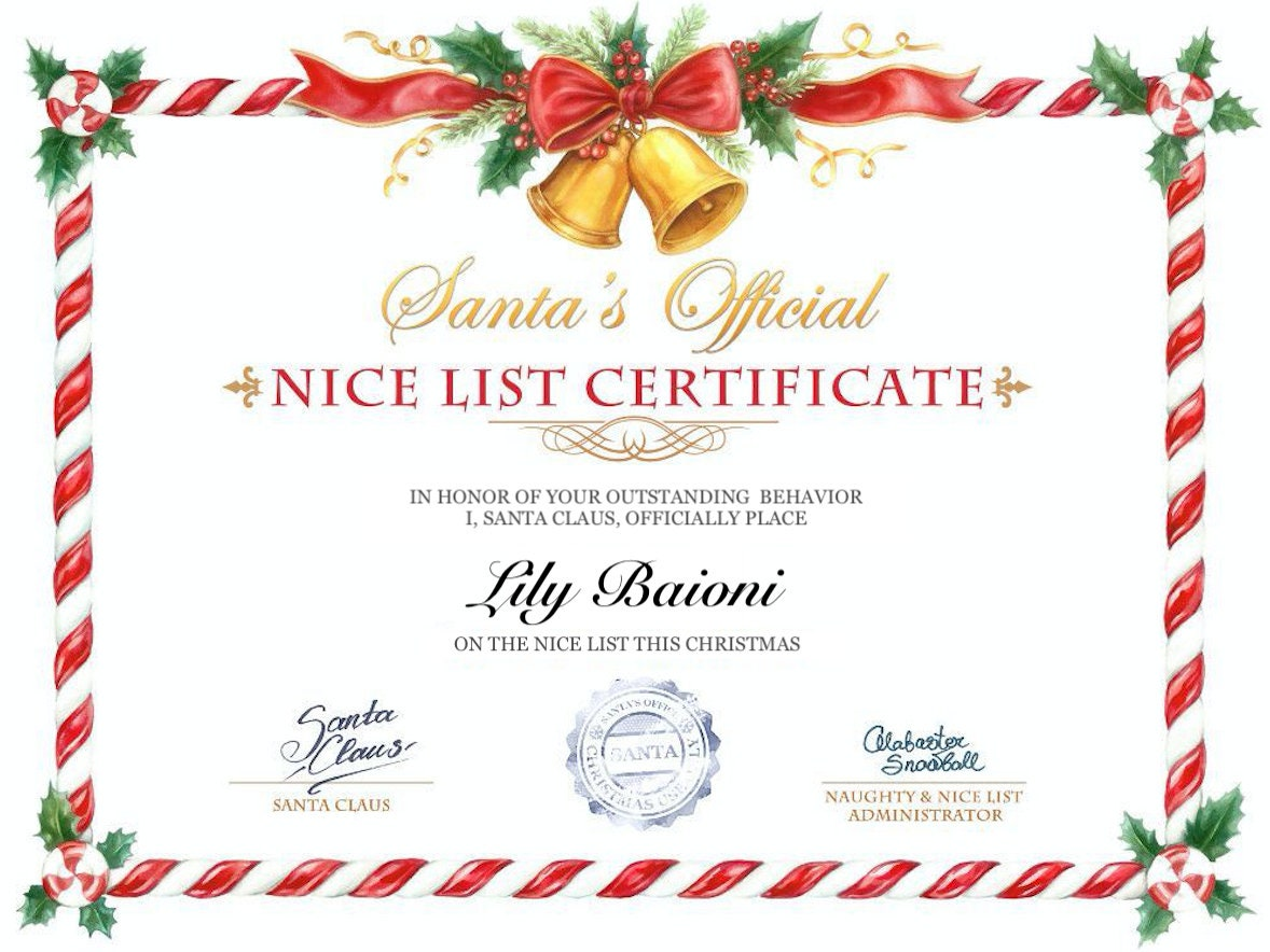 Letter From Santa Personalized Perfect Gift For Any Child With Included Nice List Good List Certificate