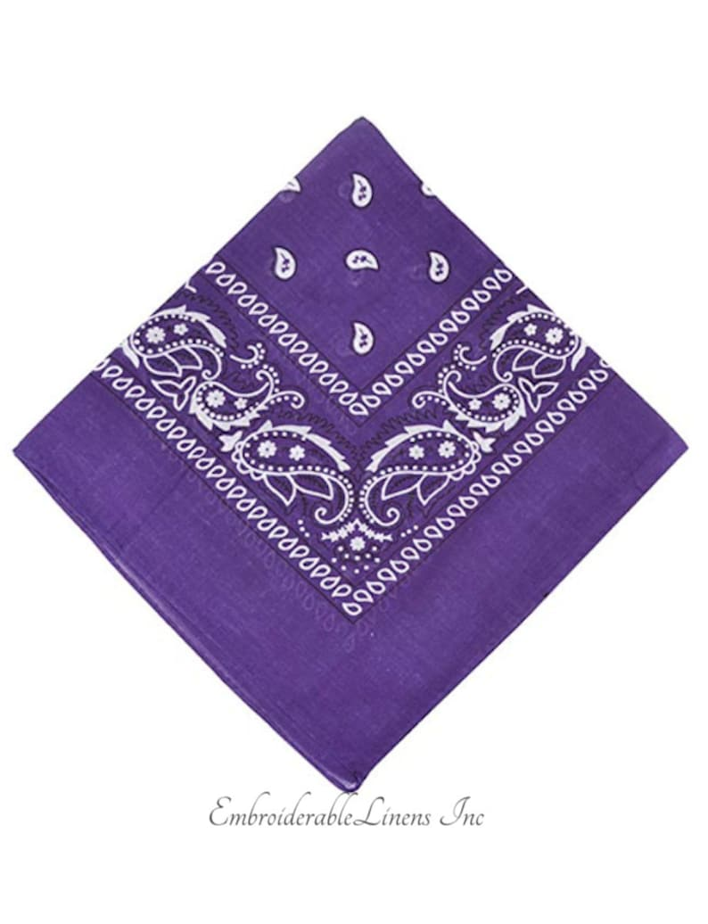 Bandana Custom Embroidered With Up To 3 Words- 100/% Cotton By EmbroiderableLinens Inc Embroidered In Your Choice Of Color
