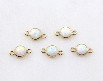 G0267-PGWH Dainty charm Polished Gold Plated 2 Pieces Opal connector Tiny Squared White Opal Connector