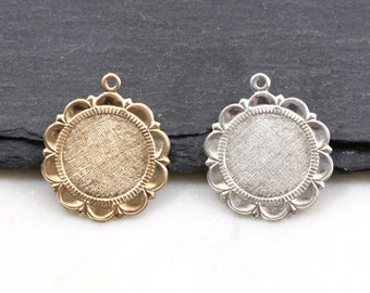 2x star pendant around 10 mm antique silver plated #3599