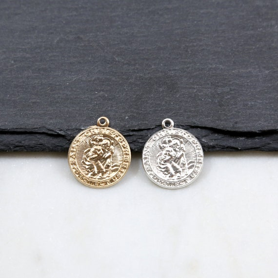 Christopher Charm Coin Pendant 17mm 14k Gold Filled Round Saint St Saint Patron Catholic Protection Pendant Sterling Silver