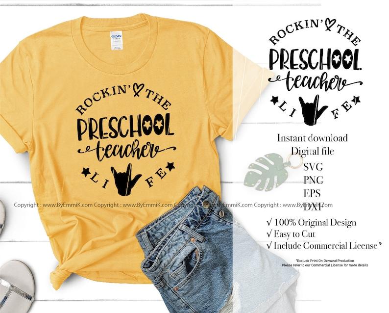 decal stencil free commercial for t shirt preschool teacher svg instant download svg,eps,dxf,png pre school teacher svg vinyl iron on