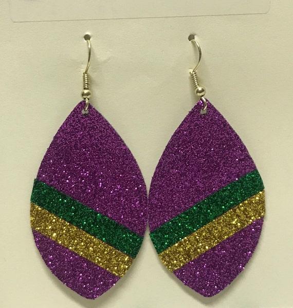 Mardi Gras Faux Leather Ear-Rings