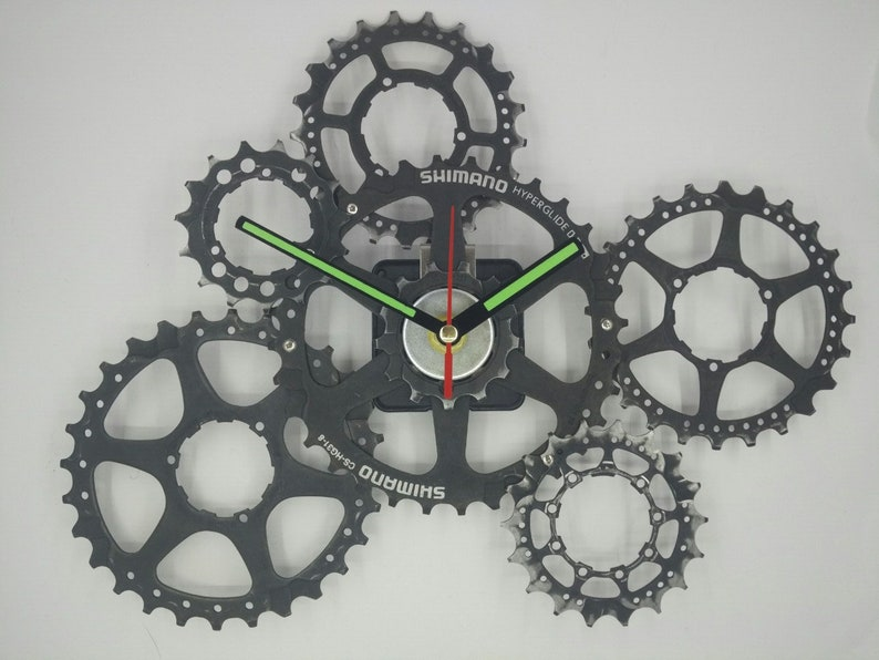 Gift for cyclist, Wall clock, Recyled bicycle parts, Mountain biker,  Steampunk decor, Handmade clock, Gift boyfriend, Bike clock, Unique