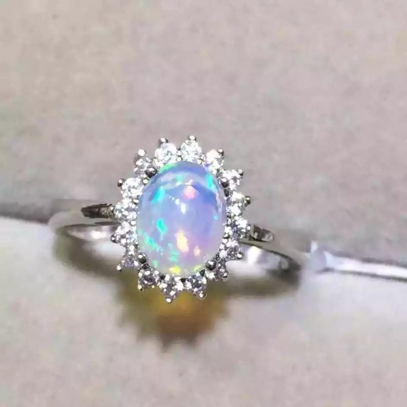 4afc90944a1d4 Natural Fire Opal Ring,925 Sterling Silver,Engagement Ring, Wedding Ring,  Luxury Ring, Ring/Band