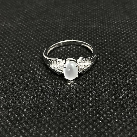 White Rainbow Engagement Ring 925 Sterling Silver Natural White Rainbow Ring Luxury Ring RingBand Wedding Ring Oval Cabution Ring