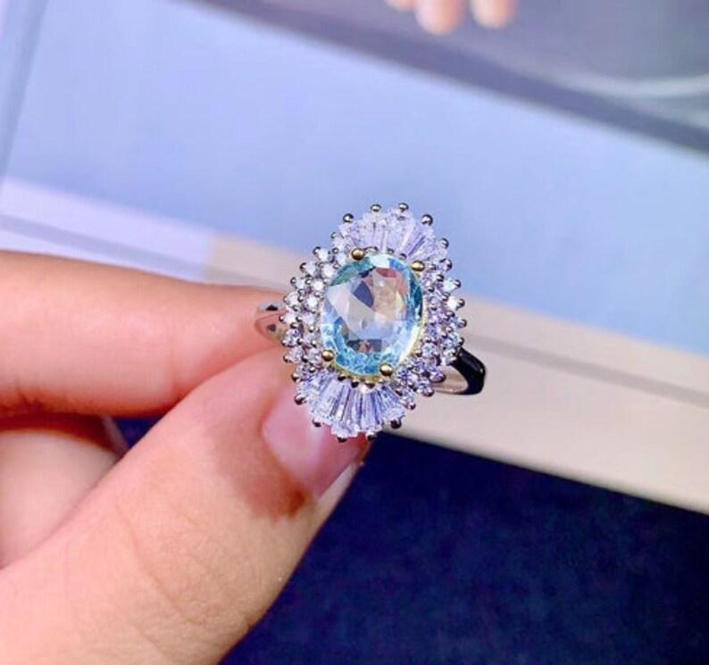 Engagement Ring Luxury Ring RingBand 925 Sterling Silver Wedding Ring Aquamarine Ring Natural Aquamarine Ring Ovel Cut Ring
