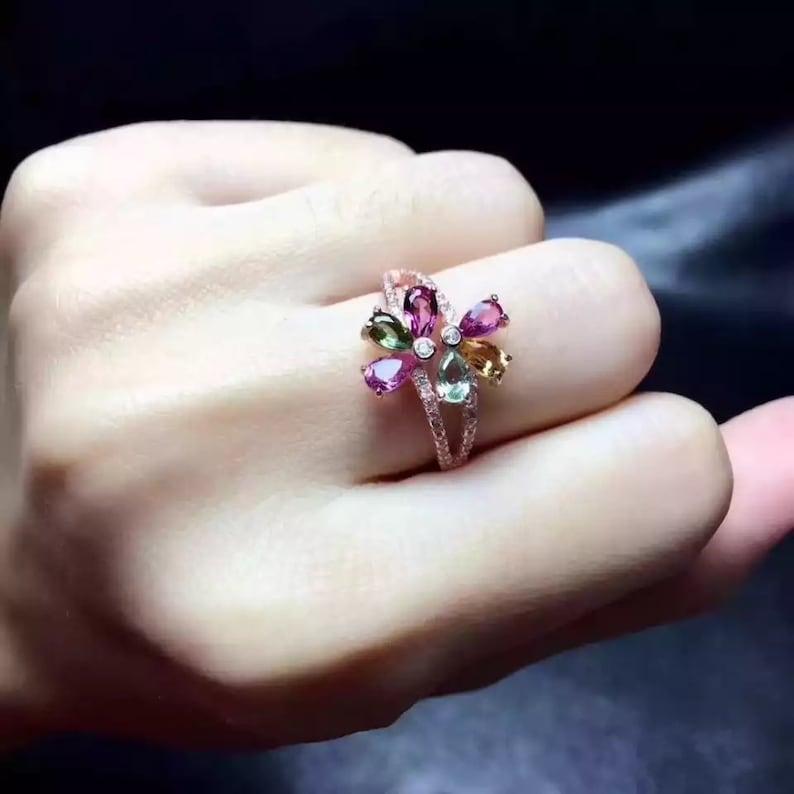 RingBand Wedding Ring Luxury Ring Silver Tourmaline Ring Natural Tourmaline Ring Tourmaline Engagement Ring Pear Cut Ring