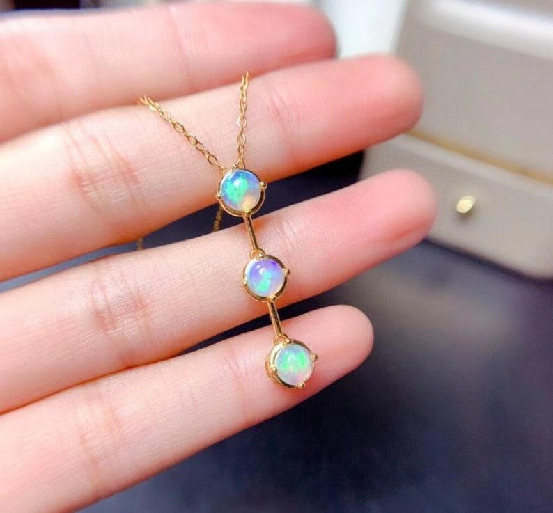 Fire Opal Silver Pendent Pendant Necklace Natural Fire Opal Pendant Engagement Pendent Round Pendent Luxury Pendent Woman Pendant