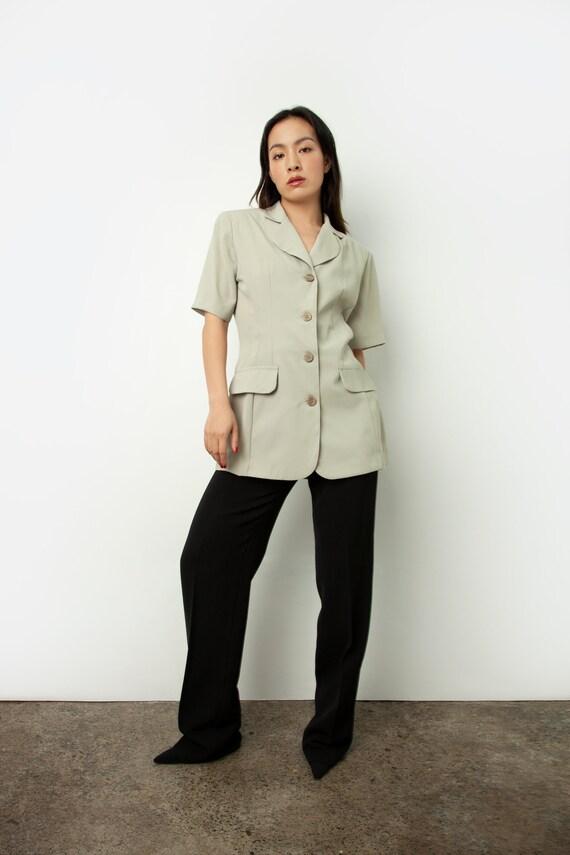 Vintage pistachio tailored blouse or short sleeve