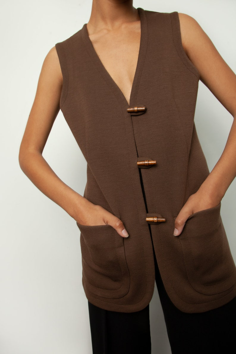 Vintage brown wool blend vest  waist coat with patch pockets and wood toggle closure