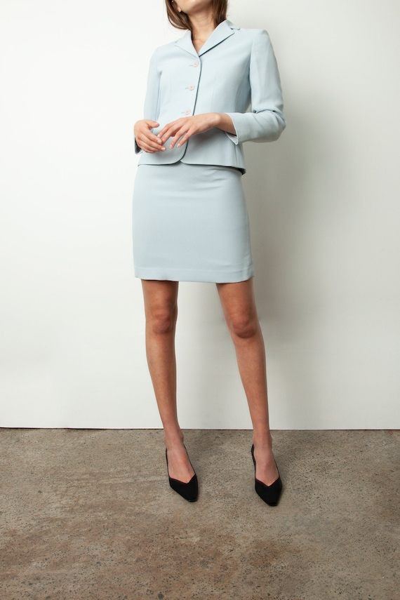Vintage 90s ice blue skirt suit with single breast