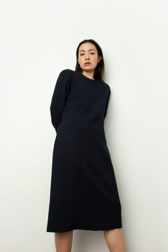 Vintage minimal chic long sleeve wool navy midi dr