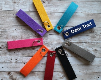 Schlüsselanhänger personalisiert mit Namen oder Text,Anhänger aus Filz,Schlüsselanhänger mit eigenem Namen,Schlüsselanhänger mit Wunschtext