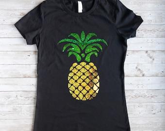 T-Shirt in schwarz mit Ananas,T-Shirt für Damen,schwarzes Damen T-Shirt mit einem Ananas Motiv