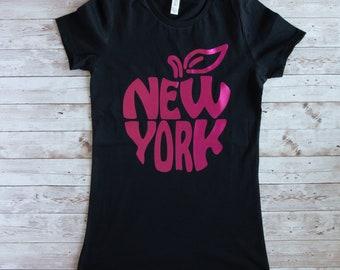 T-Shirt für Damen,schwarz, Motiv Big Apple New York,