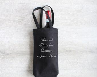 Geschenk-Tasche für Flaschen personalisiert, Flaschentasche in schwarz,Flaschentasche aus Fairtrade Baumwolle, Geschenkverpackung,Geschenk,