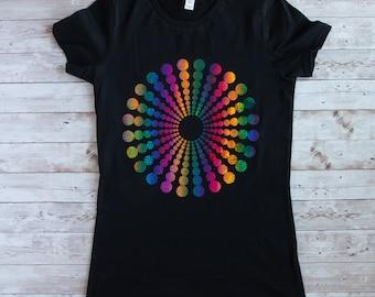 T-Shirt mit einem Kreis-Motive,schwarzes Damen T-Shirt,T-Shirt für Damen in schwarz,T-Shirt mit Kreise