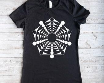 T-Shirt mit Geometrie- Motiv ,schwarzes Damen T-Shirt, T-Shirt  für Frauen in schwarz